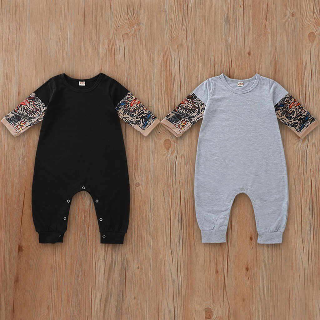 Baby Tattoo Romper Jumpsuit Long Sleeve Patchwork Autumn New Born Baby Clothes Baby Unisex Girl Boy Romper Jumpsuit Costume 2019