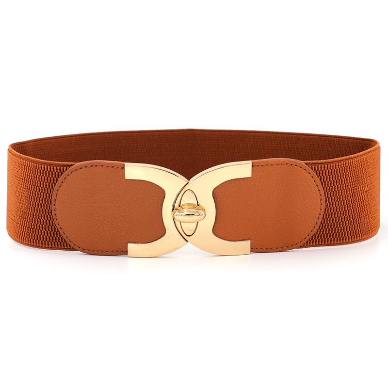 Fashion Women's High Waist Belt Camel Women's Rotary Lock Elastic Belt Four Seasons Wild Belt Ms. Elastic Wide Belt