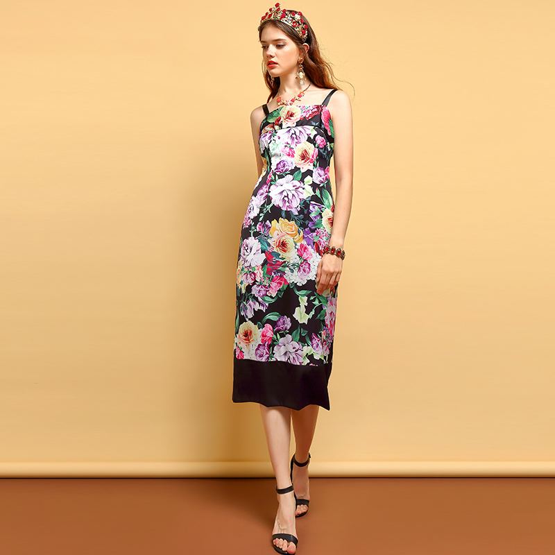 Baogarret Fashion Summer Dress Women 39 s Sexy Spaghetti Strap Backless Floral Printed Elegant Vintage Slim Vacation Dresses in Dresses from Women 39 s Clothing