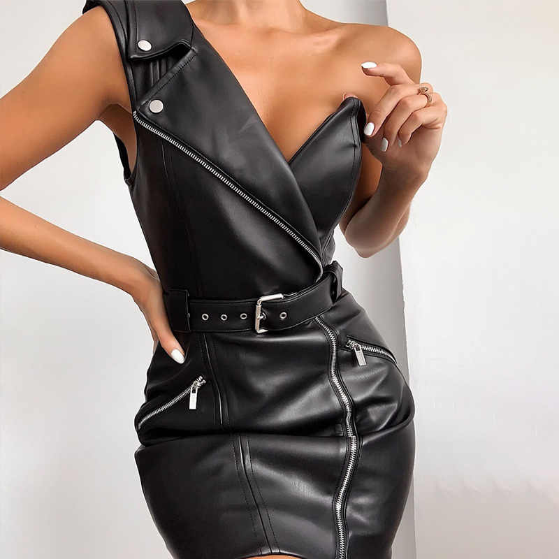 Faux Leather One Shoulder Sexy Dress Women V-neck PU Belt Bodycon Ladies Mini Party Dresses Strapless Zipper Female Vestidos