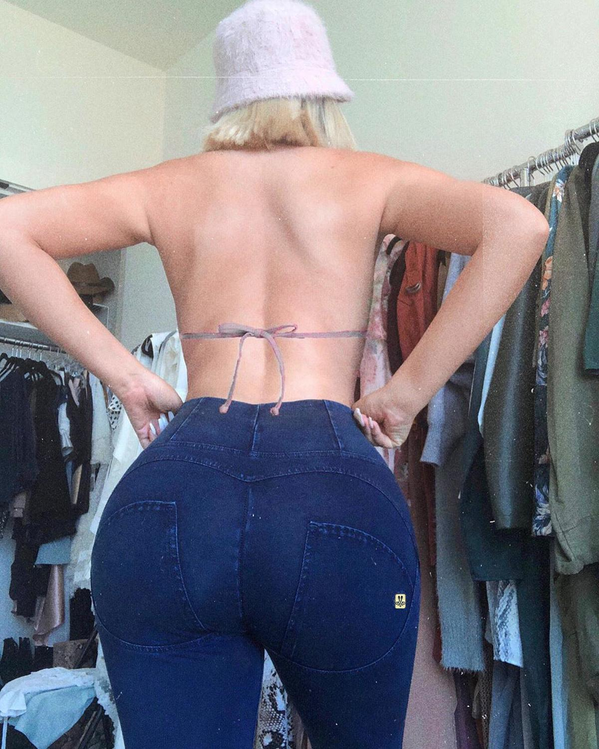 Melody Four Ways Stretchable Super Elastic High Waist Jeans Woman Zipper Fly High Rise Push Up Sexy Jeans Jeggings 2020 Summer