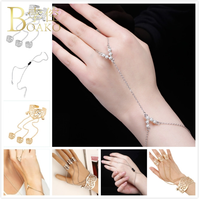 BOAKO Vintage Rings For Women Link Chain Finger Mode Rhinestone Crystal Mid Bridal Indian Jewelry Z5