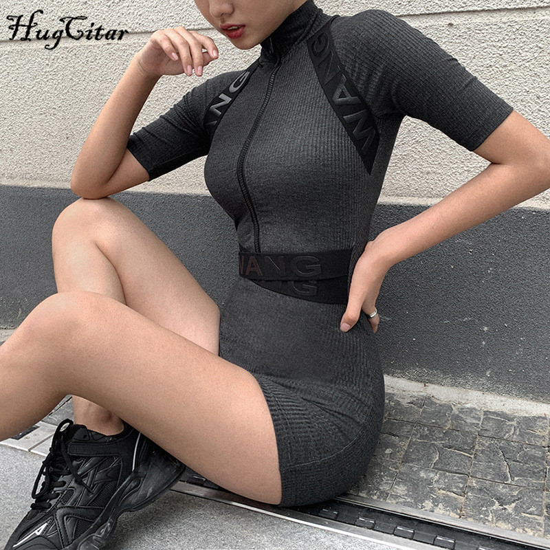 Hugcitar 2020 Short Sleeve Zipped Letters Patchwork Stretchy Bodycon Playsuit Spring Summer Women Streetwear Outfits Body