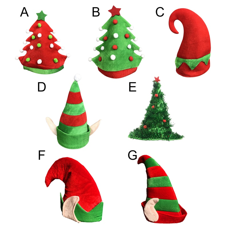 7 Colors Child Party Christmas Hat Novelty Santa Hat Crazy Hats Christmas Tree Hat  New Year Gift Party Hat