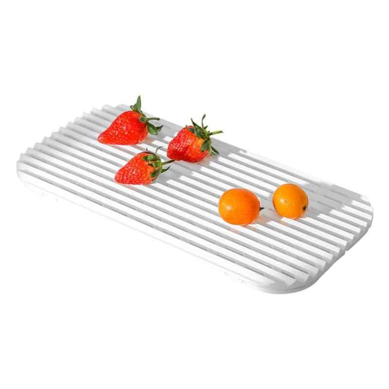 排水茶トレイプラスチック中空プレートフルーツホルダー移植性なしスペース占有長方形家庭の台所青白
