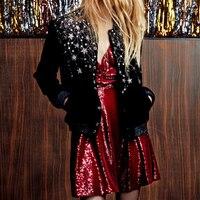 Long Sleeve Stand Collar 2019 Autumn Winter Women Coat Black Embroidered Star Beading Velvet Jacket Female High Street