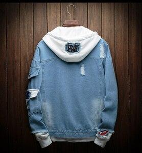 Image 5 - Mens Autumn Denim Jackets Fashion Casual Stitching Punk Hooded Denim Jackets High Quality Cotton Denim Coats Size 3XL