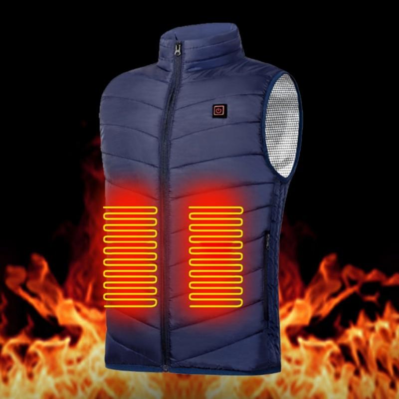 9 Areas Vest Jacket USB Men Winter Electric Heated Sleeveless Jacket Outdoor Climbing Hiking