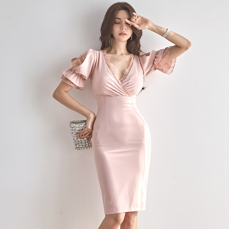 2020 summer new Korean version of sexy V-neck lace fight receiving waist was thin package hip dress