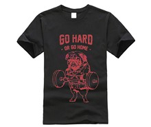 Hot Sale Fashion Pug Squat Exercise Hard Design Mne's Creative Printed T-shirt Short Sleeve Male Funny Tops Hipster Casual Tee(China)