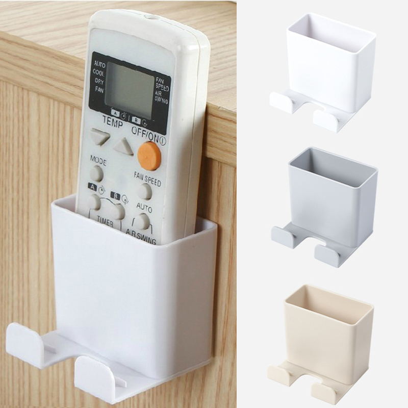 2PCS Phone Wall Mounted Holder Storage Box Rack Smartphone Hanging Phone Tablet Charging Multifunction Remote Control Holder