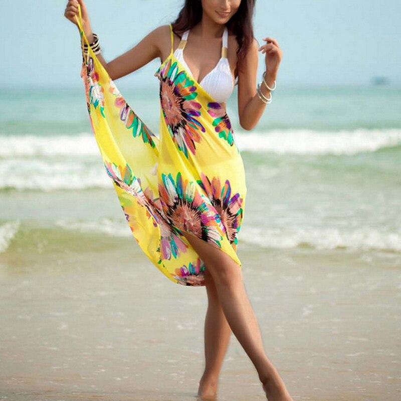 2019 Hot Women Halter Lightweight Chiffon Floral Print Beach Cover Up Towel Silk Beach Bikini Open-Back Beach Dress