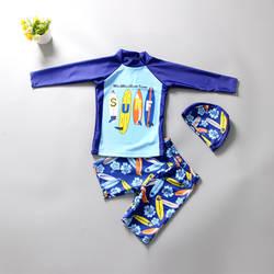 Рубашка с длинным рукавом Купальник Разделение Тип для больших мальчиков от солнца-стойкий, быстро сохнет, верхняя нарядная одежда для