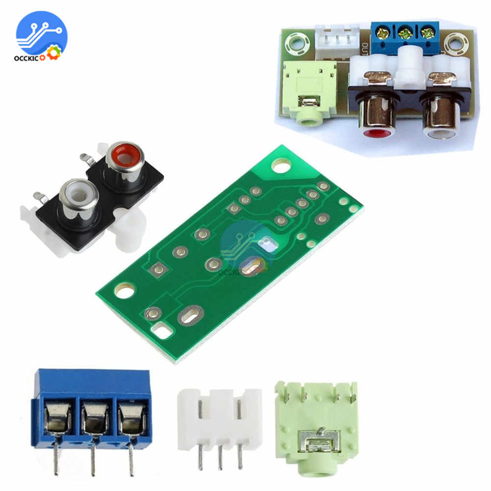 Audio Switch Board DIY Kit 3.5 Mm Jack Input RCA Blok untuk Amplifier Peralatan Elektronik