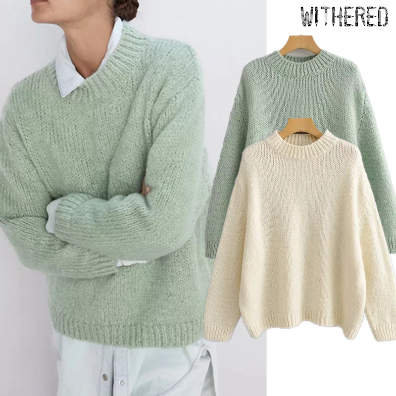 Withered England Elegant Vintage Solid O-neck Winter Sweaters Women Mohair Oversize Loose Pull Femme Sweaters Women Pullovers
