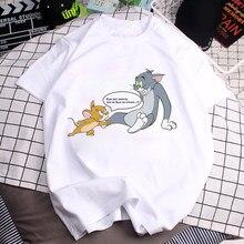 90s T Camisas Das Mulheres Divertido Gato Bonito Dos Desenhos Animados Tom Jerry Mouse Impressão Harajuku O-pescoço Camisa Harajuku de Manga Curta T-shirt Feminina