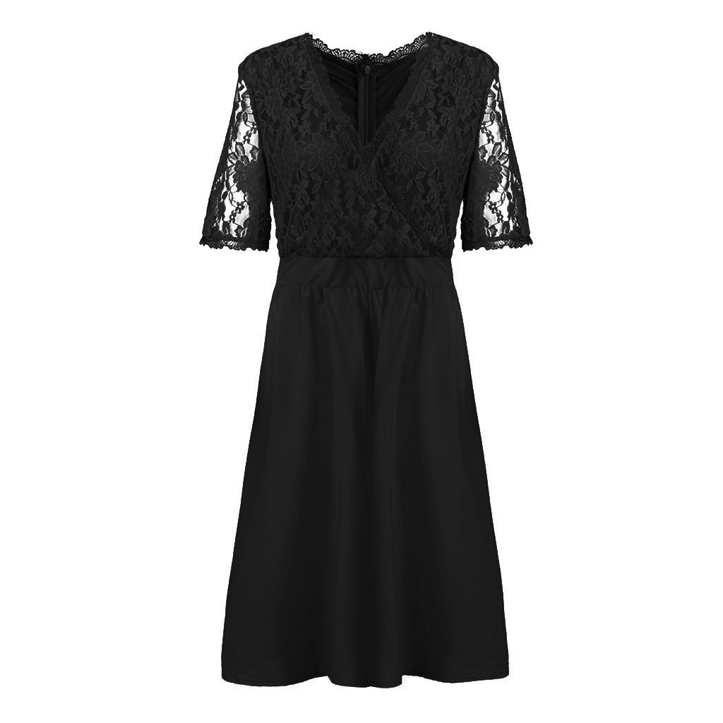 Women Plus Size V-neck Short Sleeve Sexy Lace Stitching Waist Evening Dress - plus-size-dresses