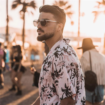 2020 Summer Mens Holiday Style Short Sleeve Shirts Coconut Tree Printing Hawaiian Beach Casual Men Shirt Blouse Loose Fit FM052