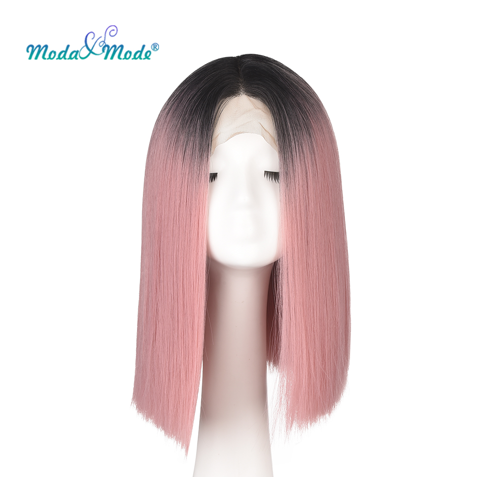 """Moda & Mode Hair 12"""" Short Straight Pink Bob Cosplay Wig Ombre Synthetic Lace Front Wig For Black/white Women Middle Part"""