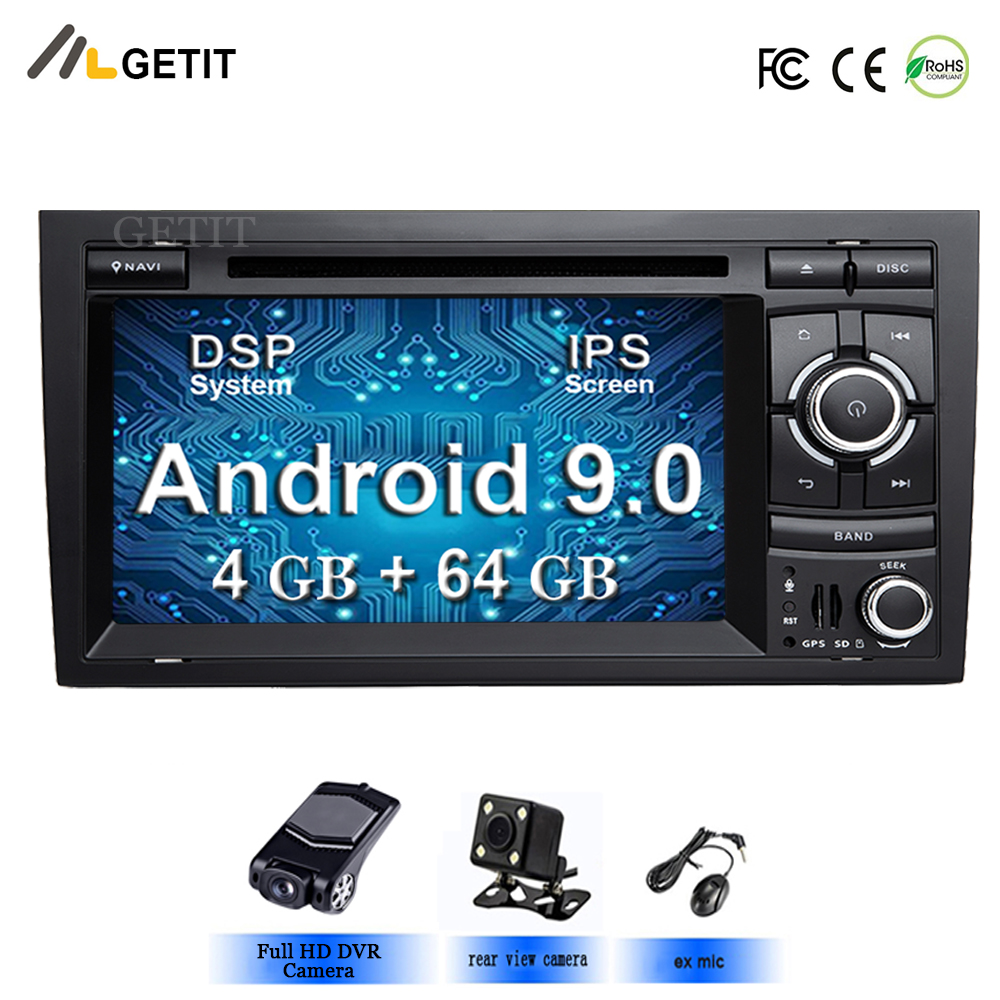 64GB DSP Android 9 Car Stereo DVD Multimedia Player for Audi A4 S4 RS4 2002 2007