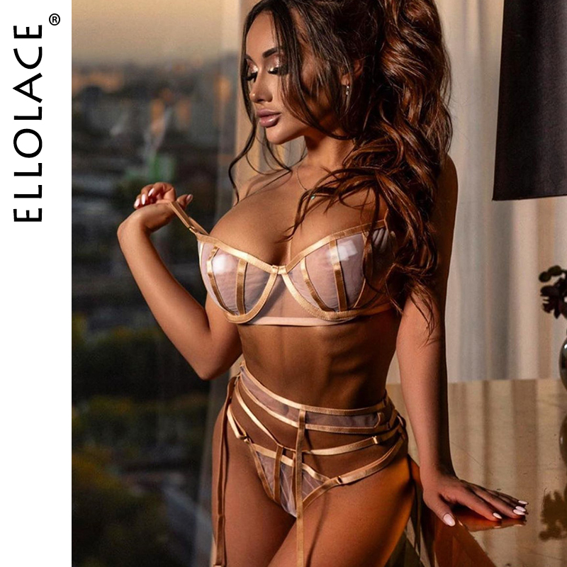 Ellolace Sexy Mesh Lingerie Underwear Set Women Transparent Bralette And Deep-V Push Up Sexy Bra Patry Set Bodycon Lingeries