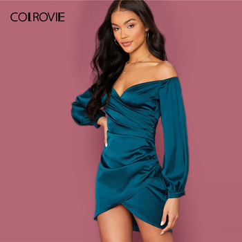 COLROVIE Green Off Shoulder Asymmetrical Hem Satin Dress Women Bishop Sleeve Mini Dress 2020 Spring Sexy Glamorous Dresses 2