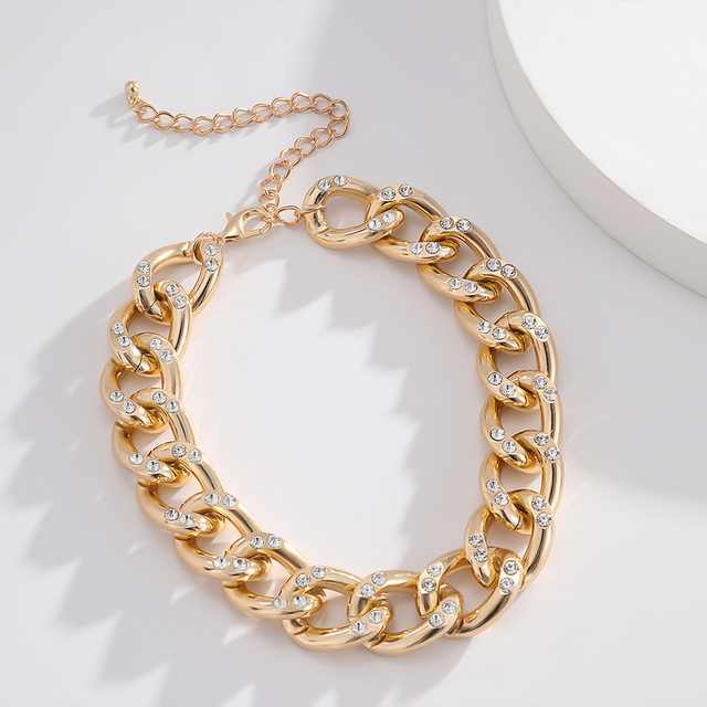 New Punk Choker Necklace for Women 2020 fashion Rhinestone Hip Hop Gold collares Thick Chain Jewelry Gifts#38 5