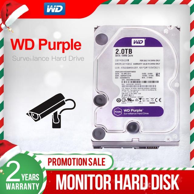 """Western Digital WD סגול 2TB 3.5 """"מעקבים HDD 64MB SATA 6 Gb/s כונן קשיח פנימי עבור וידאו מקליט NVR WD20EJRX"""