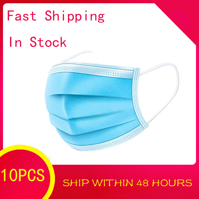 10PCS Profession 3 Layer Disposable Mouth Mask Non Woven Anti-dust Face Masks Safe Breathable Protetive Respirator As Ffp3 Mask
