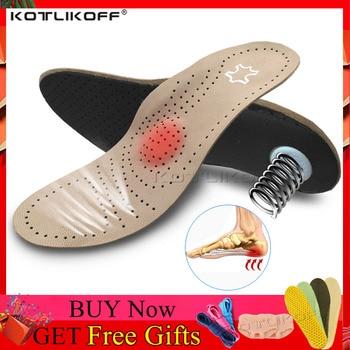 Orthèses en cuir véritable semelle intérieure pour pied plat soutien de la voûte plantaire varus fasciiti semelles orthopédiques en Silicone pour hommes et femmes 1
