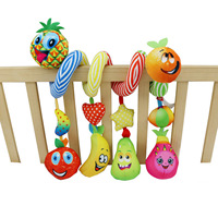 Cute Fruit Shape Baby Pram Crib Hanging Spiral Plush Toy with Music Box Rattle Crinkle Paper Squeakers Activitie Car for Newborn