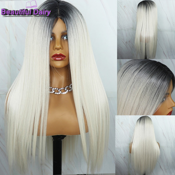 Beautiful Diary Silky Straight Blonde Wigs Ombre Synthetic Hair Wigs For Black Women Gluesless Synthetic Wigs Ombre Grey Wig брюки ombre ombre mp002xm1k5cj