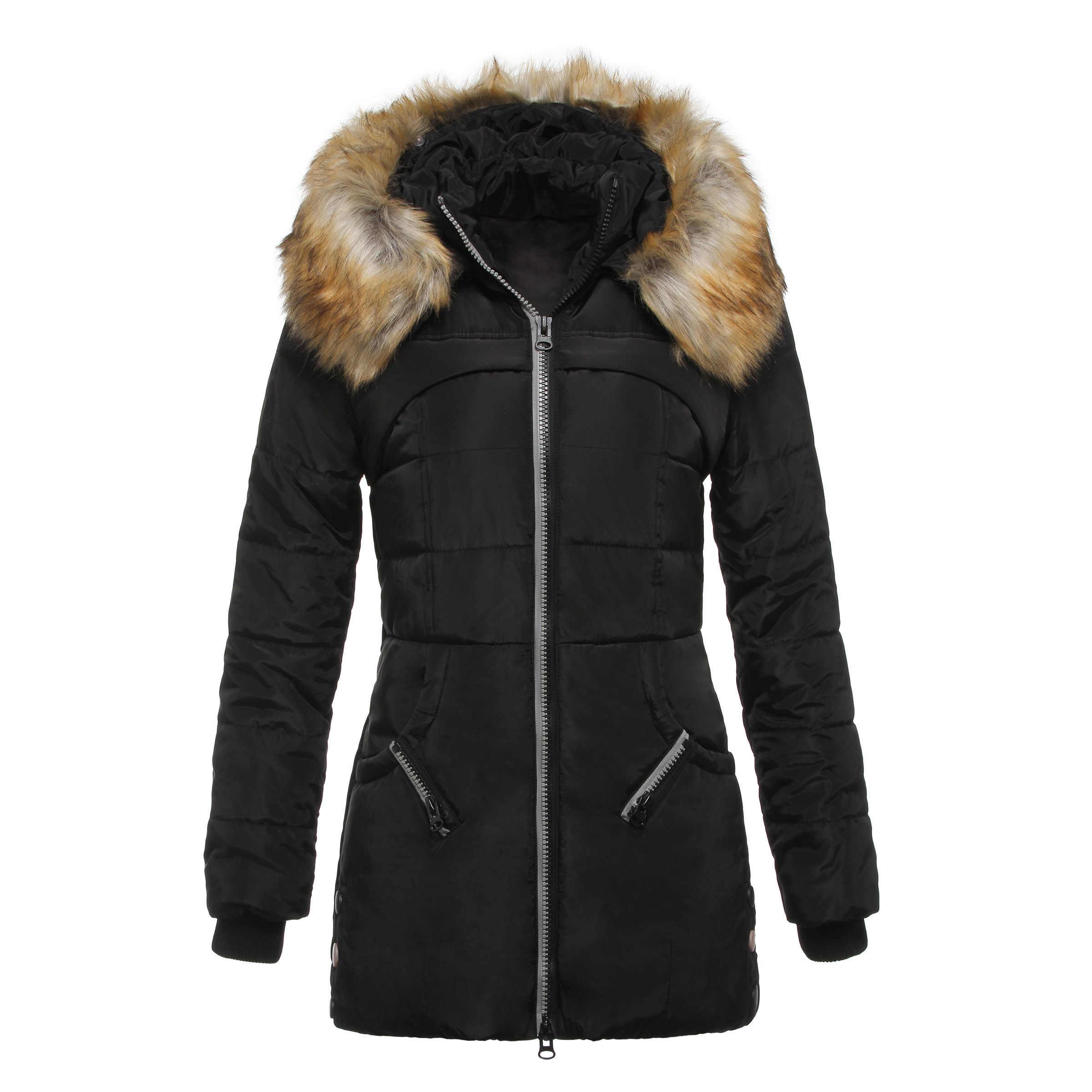 秋の冬のコートジャケット女性フード付き厚く暖かいロングアウター女性エレガントなオフィススリム綿パーカーコートグリーン黒