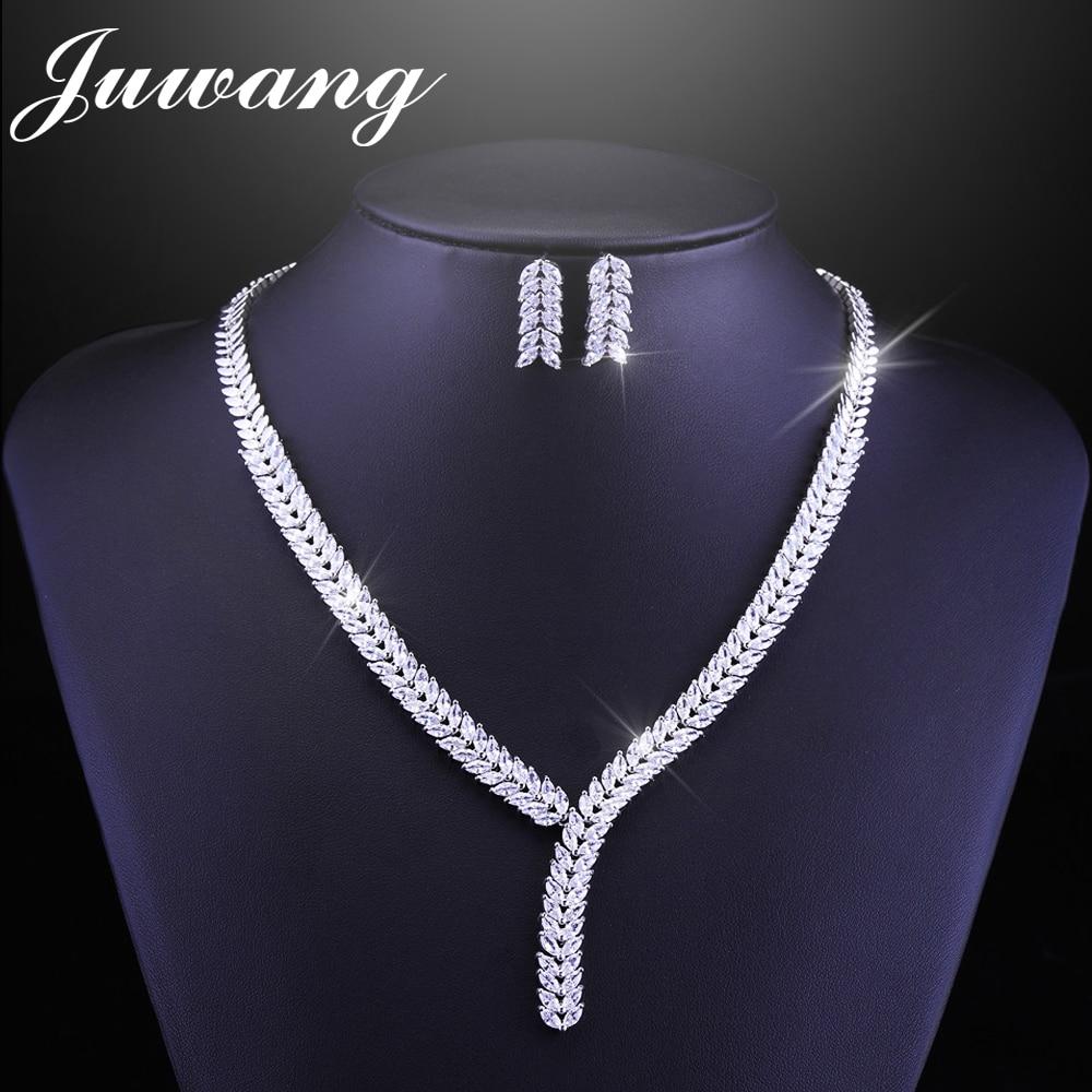 JUWANG brillant ensembles de bijoux cubique Zircon collier boucles d'oreilles pour femme mariage bijoux de mariée ensembles accessoires de robe de soirée