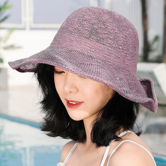 Womail Fisherman Hat Ladies Summer Casual Solid Color Ruffled Buckle Lotus Leaf Beach Casual Sunscreen Fisherman Hat