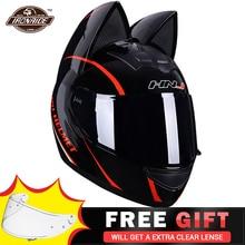 Schwarz Motorrad Helm Frauen Motocross Capacete Volle Gesicht Casco Moto Ohr Helm Persönlichkeit Motor Motorrad Biker Helm