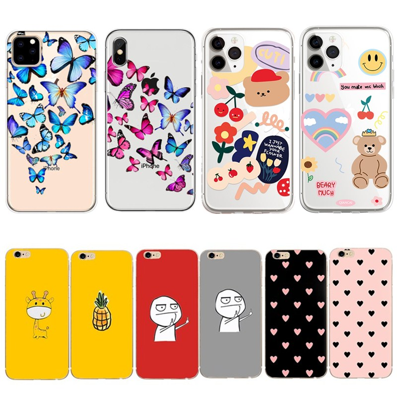 <font><b>Phone</b></font> <font><b>Case</b></font> For <font><b>iPhone</b></font> 5 5s <font><b>5se</b></font> 6s 6 7 8 plus Funny Cartoon Bear Animal Soft TPU Silicone Clear Cover For <font><b>iPhone</b></font> 6 6s 7 8 Plus image