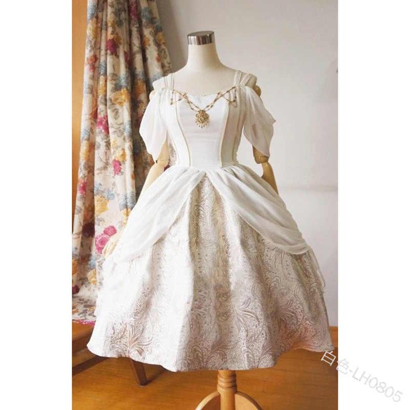 Cosplay renacimiento Medieval Palacio princesa vestido adultos Vintage color sólido Delgado fuera del hombro disfraces de Halloween Lolita vestido
