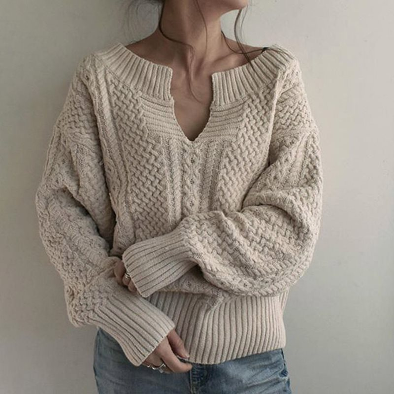 Women Winter Knitted Sweater Female Autumn V Neck Sexy Casual Loose Solid Color Pullovers Knitwear OL Tops Jumper Pull Femme