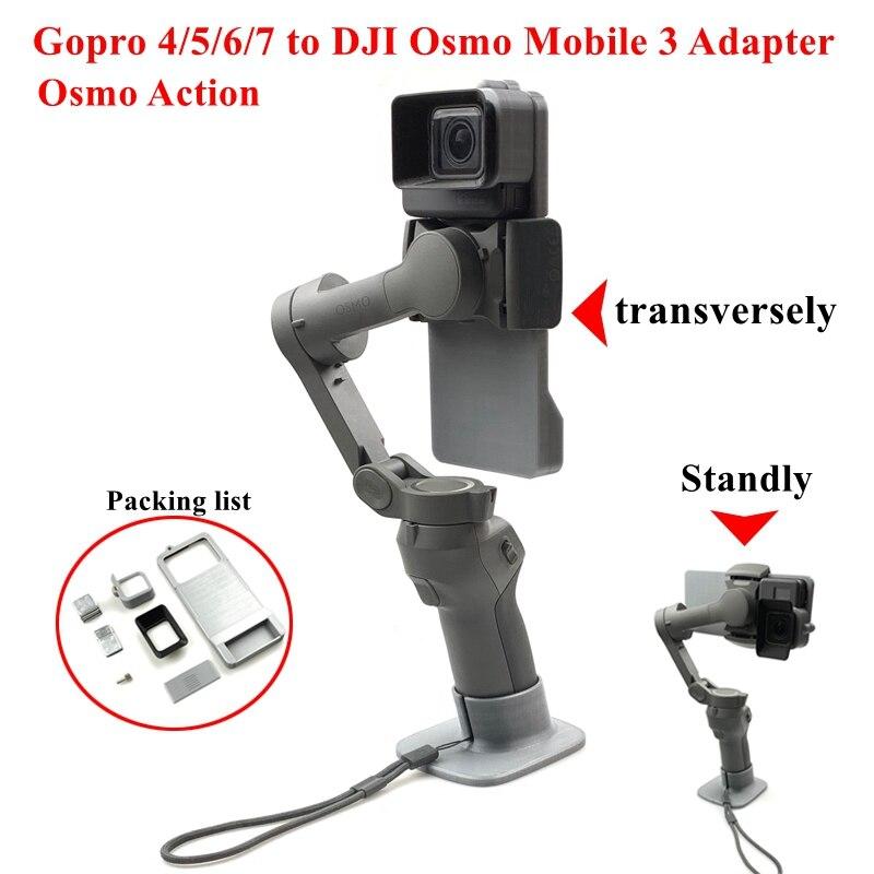 Cardan handheld adaptador interruptor placa de montagem para gopro hero 7 6 5 dji osmo ação interruptor montagem placa adaptador para dji osmo móvel 3