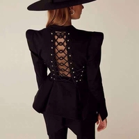 2020 New Fashion Sexy Black Lace Up Women Top Summer Backless Hollow Out Club High Quality Party Long Sleeve Tops Wholesale
