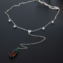 VERY GIRL Fashion gradient watermelon red tourmaline stone water drop pendant necklace for female dress party jewelry(China)