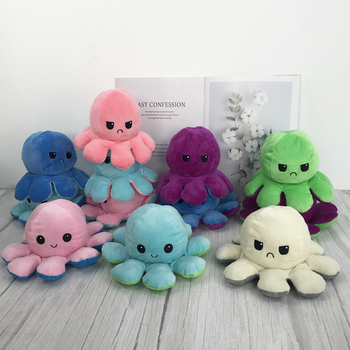 1pc Cute Soft Plush Doll Octopus Doll Double-sided Flip Octopus Plush Toy Doll Marine Life Toys Baby Toys Children birthday Gift premium new 1pc cute marine life octopus baby plush toy doll octopus multicolor optional dolls