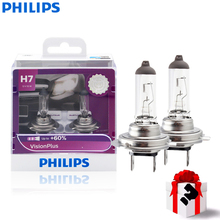 Philips H7 VisionPlus Car Motorcycle Headlight Bright Halogen Bulbs  ECE Approve 60% More Vision 12V 55W 3250K 12972VPS2, Pair