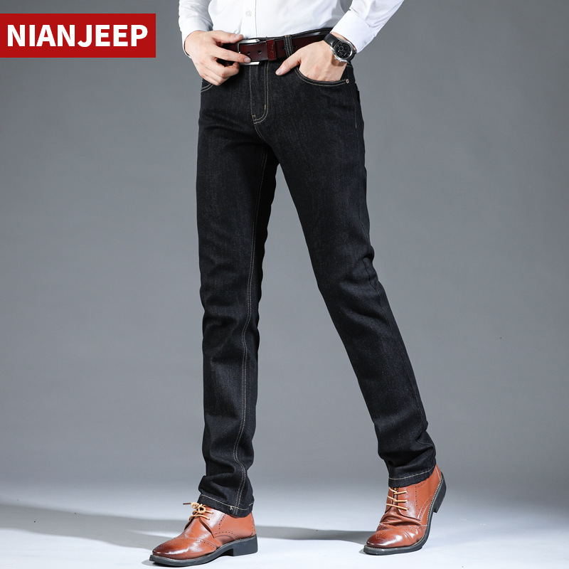 NIAN JEEP Jeans Men Spring Autumn Mens Jeans Brand Cotton Straight Softener Black Jeans Denim Jean Homme Size 28-42