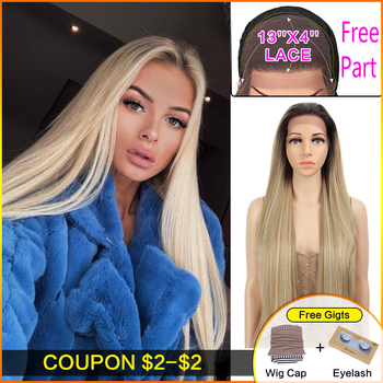 Bella 13*4 Lace Front Wigs Straight Hair Free Part 32 Black Blonde Brown Color Long Wigs for Women Cosplay Synthetic Lace Wig wignee hand made front ombre color long blonde synthetic wigs for black white women heat resistant middle part cosplay hair wig