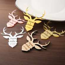 Custom Deer Wedding favor, tags, favor Wood decoration, Wooden deer, Save the Date
