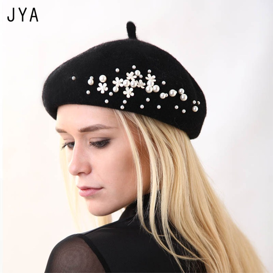 High Quality Knit 98% Pure Wool Felt Beret For Women Girls Fashion New Elegant Female Beret British Style Winter Hat Solid Color