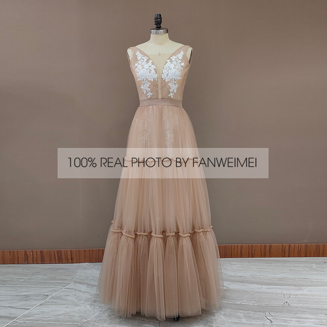 Boho Deep Sexy V Neck Sleeveless Backless Bridal Beach Tulle Lace Floor Length A-Line Champagne Wedding Dress Bridal Gown 4