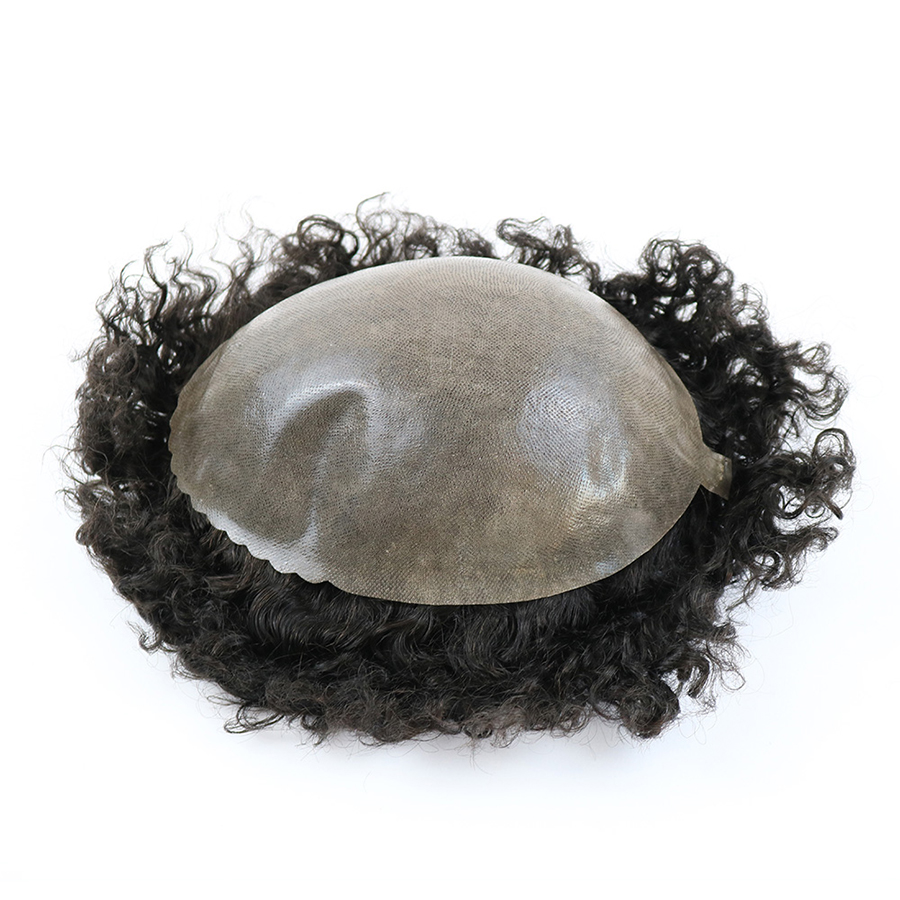 Image 2 - Durable Skin Base 20mm Deep Curl Men Human Hair System Replacement Toupee Hairpiece Installation Wig Prosthesis for Hair LossToupees   -